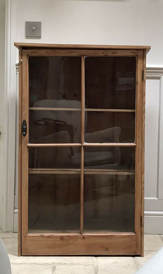 Vintage Pine Early C20th Glazed China Display Drinks Cabinet Bookcase